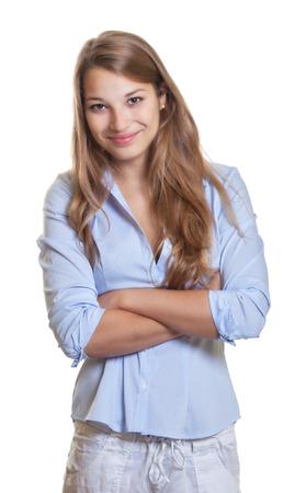 persona de pie: De pie joven empresaria con el pelo largo y rubio