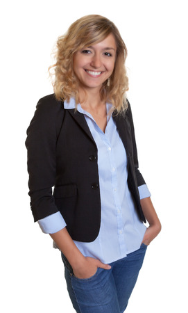 blond hair: Standing businesswoman with curly blond hair