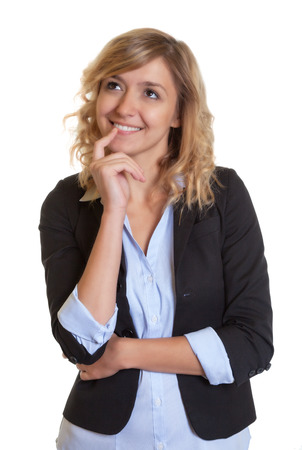 blond hair: Thinking businesswoman with curly blond hair