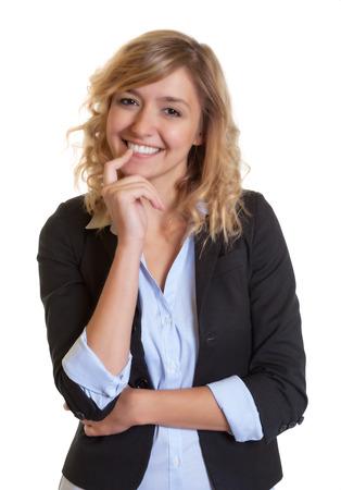 cabello rubio: Empresaria hermosa con el pelo rubio rizado