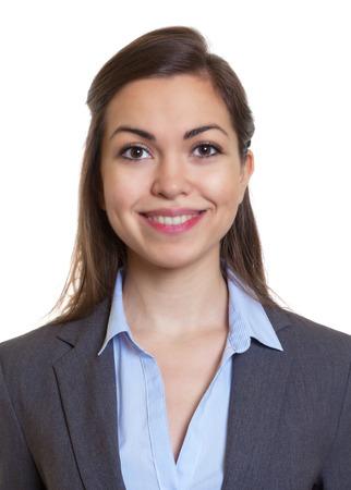 Pasfoto zakenvrouw met bruin haar Stockfoto