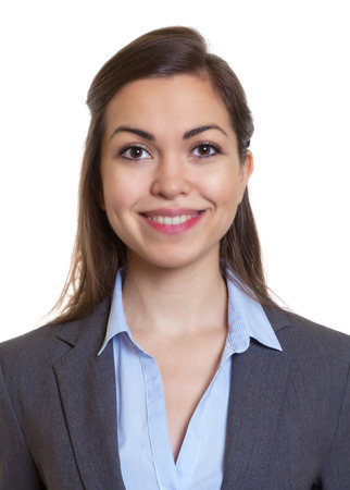 Passport picture businesswoman with brown hair photo
