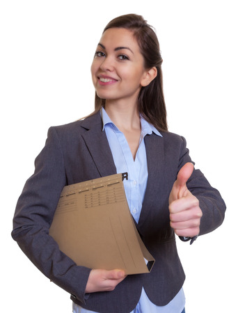 well read: Businesswoman with brown hair and file showing thumb up