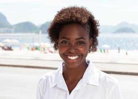 latina america: Beautiful brazilian woman at Rio de Janeiro Stock Photo