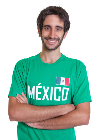 freak out: Young mexican sports fan with beard Stock Photo