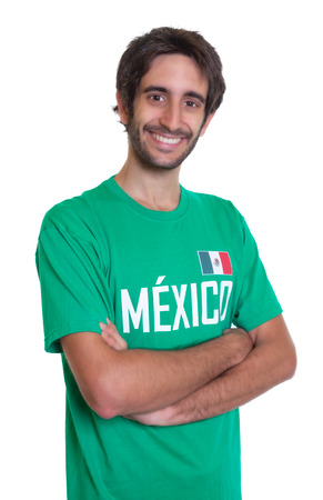 freak out: Laughing mexican sports fan with beard Stock Photo