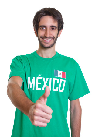freak out: Mexican sports fan with beard showing thumb up