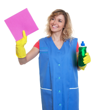 damp: Housewife with blond hair and damp cloth at work Stock Photo