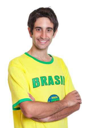 freak out: Brazilian man with short black hair and crossed arms Stock Photo