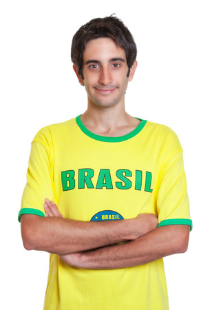 freak out: Standing brazilian man with short black hair Stock Photo