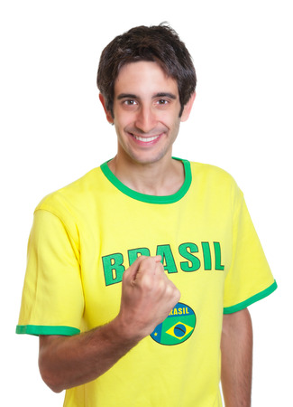 freak out: Brazilian man with short black hair showing fist