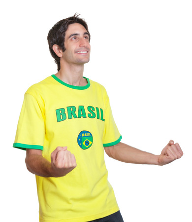 freak out: Cheering brazilian man with short black hair