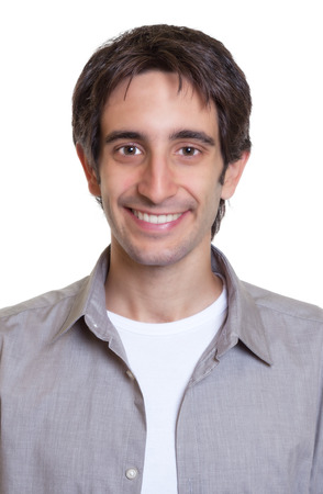 look latino: Passport photo of a guy in a grey shirt Stock Photo