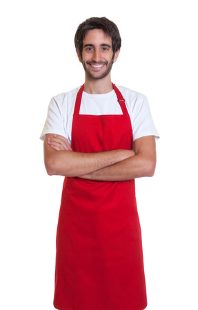 kitchen apron: Laughing barkeeper with crossed arms