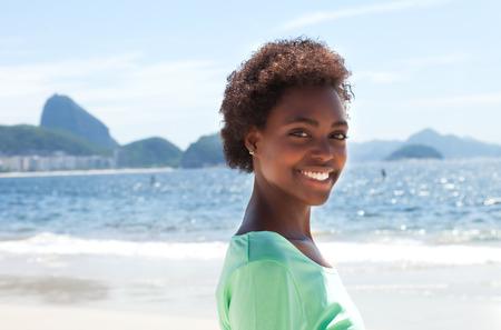 brazilian woman: Happy brazilian woman at Copacabana beach
