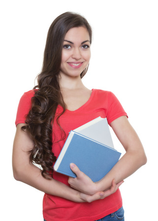 long dark hair: Female student with long dark hair and books Stock Photo