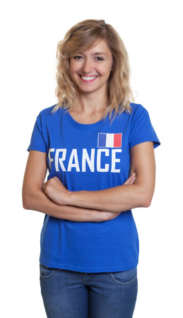 international basketball: French sports with blond hair and crossed arms Stock Photo