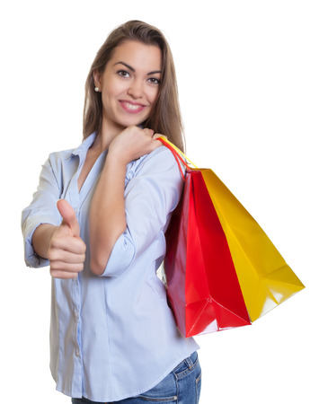 Woman with long dark hair loves and shopping photo