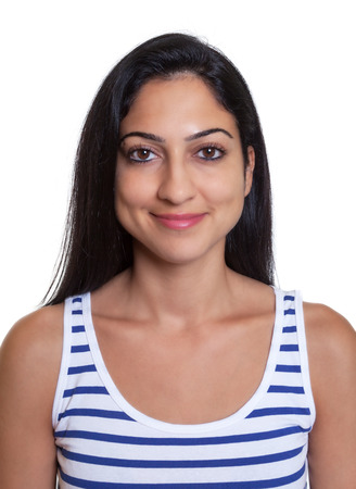 Passport picture of a smiling turkish woman in a striped shirt