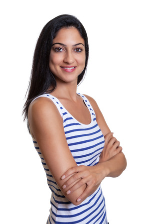 turkish woman: Attractive turkish woman with crossed arms in a striped shirt Stock Photo
