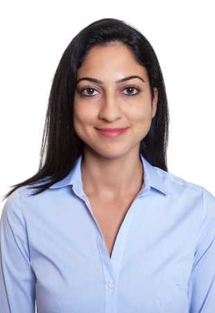 Passport picture of a laughing turkish businesswoman