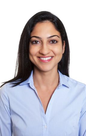 Paspoort foto van een lachende Turkse zakenvrouw Stockfoto