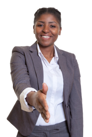 Businesswoman from Africa giving hand photo