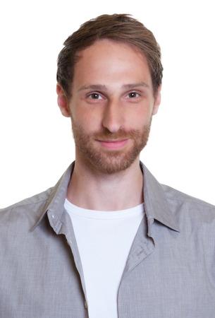 foto carnet: Retrato de un chico alemán con la barba Foto de archivo