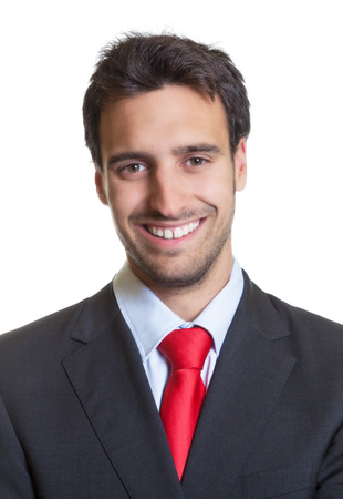 Passport picture of a hispanic businessman with suit