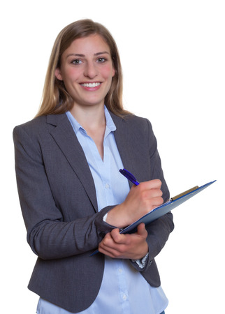 Attractive german businesswoman with clipboard