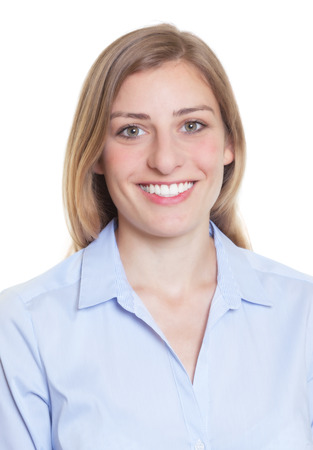 Passport picture of a blonde german woman in blue blouse photo