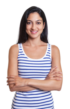 turkish woman: Modern turkish woman with crossed arms in a striped shirt Stock Photo