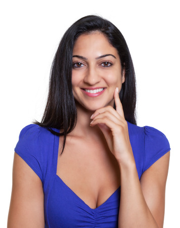 indian summer seasons: Portrait of a smart turkish woman in a blue shirt Stock Photo