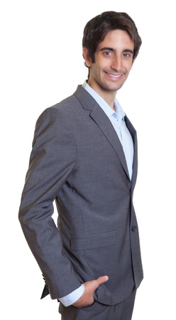 white suit: Smart latin businessman with suit and short hair