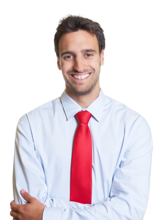 red tie: Laughing businessman with red tie