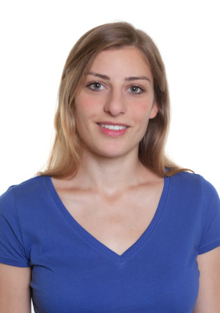 photo camera: Passport photo of a german woman in a blue shirt