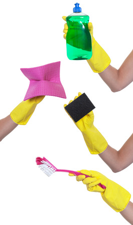 spring cleaning: Hands with different tools for cleaning Stock Photo