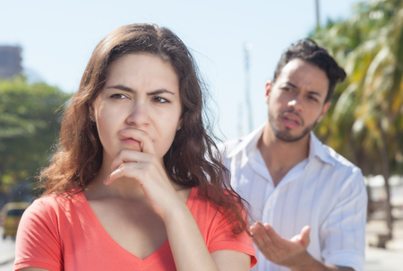 relationship problems: Modern couple with relationship problems in the city Stock Photo