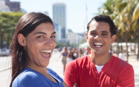mexican woman: Happy latin couple in the city Stock Photo