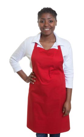 african american woman hair: Standing african american waitress