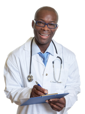 Laughing african american doctor with clipboard