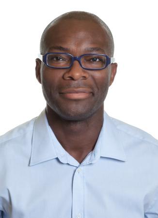passeport: Portrait d'un homme afro-américain avec des lunettes Banque d'images