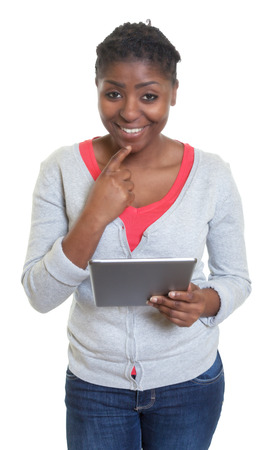 latina america: Happy african american woman with tablet