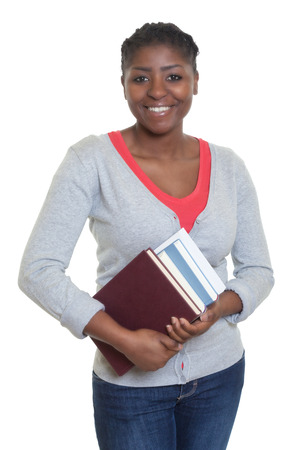 african student: Laughing african american student with books