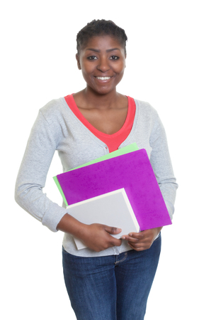 african student: Happy african american student with paperwork