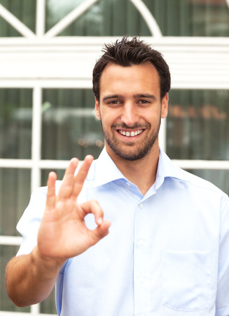 compliment: Latin business man makes compliment
