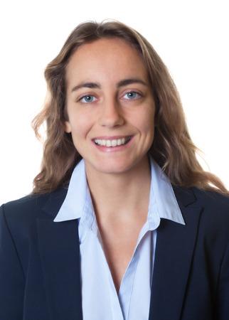 foto carnet: foto de pasaporte de una mujer de negocios rubia con los ojos azules y chaqueta