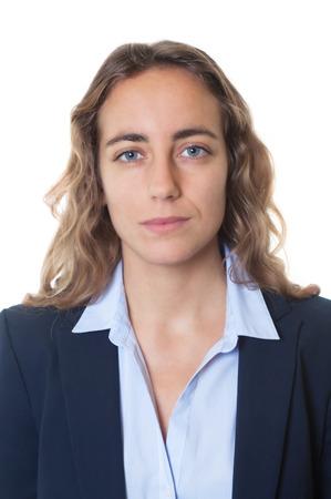 passport background: Passport photo of a cool blond businesswoman with blue eyes and blazer