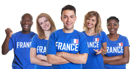 international basketball: Group of french sport fans Stock Photo