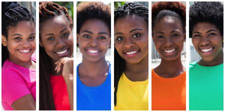 Sammlung von sechs schönen Afroamerikanerfrau Standard-Bild - 52161473